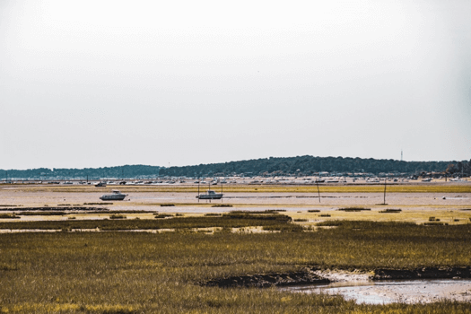 Vue de la marée basse depuis les campings du Bassin d'Arcachon